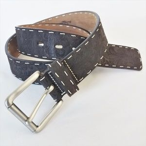 Tommy Bahama l Leather Belt Brown Stitching Boho